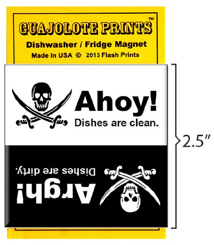5a911a01c4c32 Guajolote Prints Pirate Skull Clean Dirty Dishwasher Magnet 2.5 X 2.5 Inches