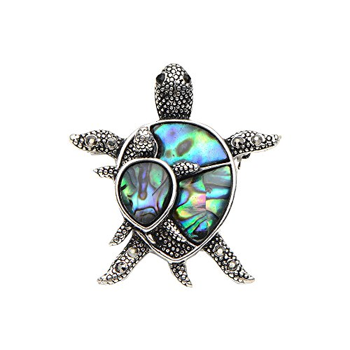 Natural Shell Turtle Brooches For Women And Men Alloy Couple Turtle Animal Brooch by Wuli&baby