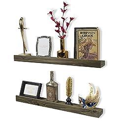 ArtifactDesign Wood Floating Wall Ledge Shelf Walnut Finish 30 Inch Set of 2