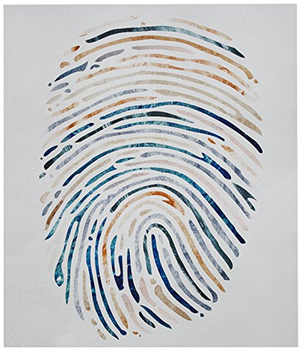 """Amazon Brand – Rivet Multi-Color Canvas Fingerprint, 17"""" x 20"""" - Whether you're a fan of forensic crime dramas or just like being one of a kind, this rendering of a fingerprint will make an artistic statement. Muted colors help this piece bridge contemporary and classic styles. A modern, sophisticated addition to your room Hand-stretched canvas on wood.  Ready to hang with hardware included. - wall-art, living-room-decor, living-room - 51%2Bx ZDZuEL -"""