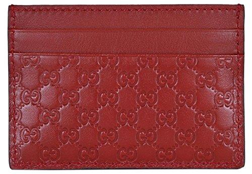 (Gucci Leather Micro GG Guccissima Small Card Case (Rosso/Red))