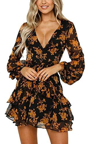 V-neck Tie Waist Dress - Aromelle Womens Dresses Floral Long Sleeve Wrap V Neck Tie Waist Mini Skater Dress, Yellow S