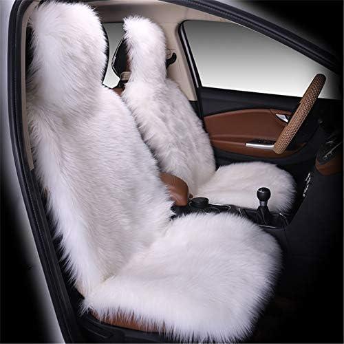 Swecomze 1 Stück Lammfellbezug Auto Sitzbezug Lammfell Vordersitzbezug Universal Sitzbezüge Weiß Auto