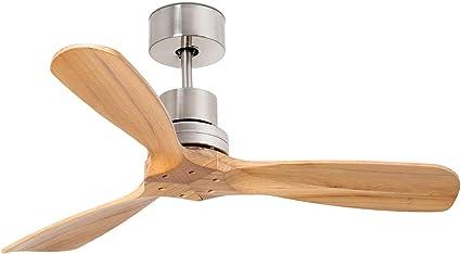 Imagen deFARO BARCELONA 33509 - Mini LANTAU Ventilador de Techo sin luz, Cuerpo de Metal Color níquel, 3 Palas Color Pino, Mando a Distancia