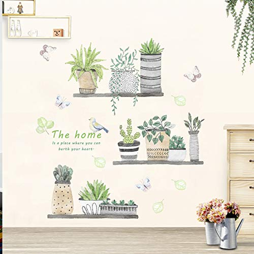 Green Plant Wall Decal Bonsai Flower Butterfly Cactus Wall Stickers DIY Mural Art Decoration for Living Room Bedroom… 1