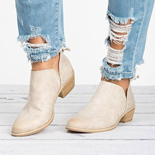 Boots Short Women Solid Fashion Shoes Shoes Beige Martin Ankle Ladies Leather Autumn MEIbax 6gawqx4Pw