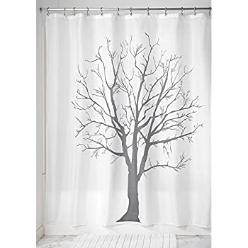 InterDesign Tree Soft Fabric Shower Curtain 72 X Charcoal
