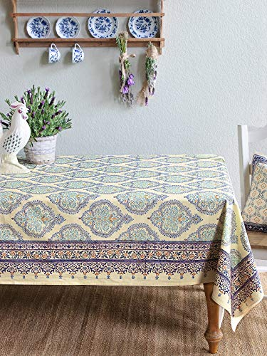 Saffron Marigold Morning Dew ~ Elegant Decorative Yellow Blue French Tablecloth 70x120