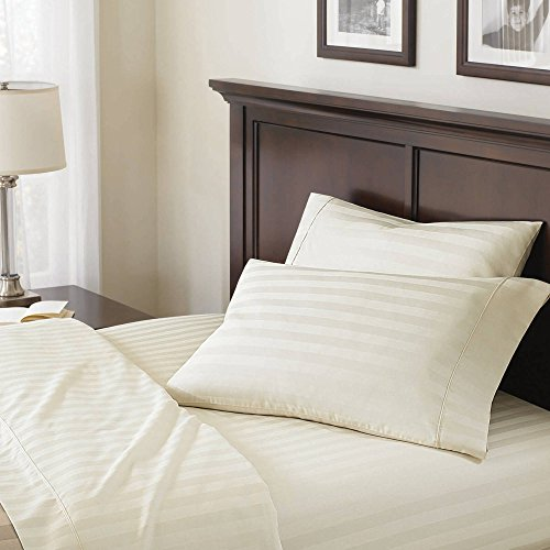 Better Homes and Gardens 100% Egyptian Cotton 400 Thread Count Damask Stripe Ultra Soft & Smooth Classic Flexi-Fit 4 Piece Sheet Set (King, (Damask Stripe 400 Thread)