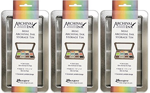 (Ranger Mini Archival Ink Storage Tins - Pack of 3 Tins)