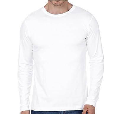 7cda277184 99tshirts Men's Cotton Round Neck Full Sleeves T-shirt (White, Small ...