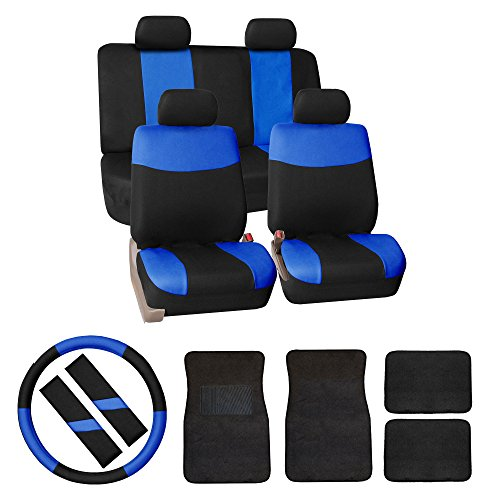 FH GROUP FH-FB056114 FH GROUP FH Group Modern Flat Cloth Car Seat Covers Combo Set: F14403 Carpet Floor Mats, Steering Wheel Cover, Seat Belt Pads Blue /Black