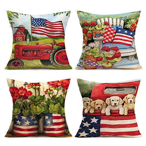 Vintage Red Truck with Dog Pillow Covers Farmhouse Floral Garden Decorative Cotton Linen American Flag Throw Pillow Case Outdoor Cushion Cover 18 x 18 Set of 4 Pillowslip (Flag-Floral Bird)