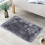 Y-H HY Fluffy Lambskin Carpet, Faux Fur Sheepskin Faux Sheepskin Carpet Deco Fur Look Wool Bed Mat Sofa Mat for Living Room, Bedroom, Children's Room, Dining Room, Polyester, grey, 50 x 150 cm