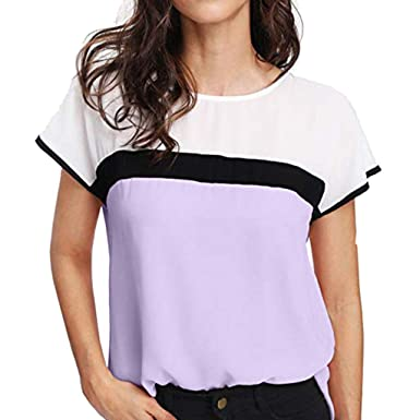 28c4fd72171650 Onegirl Womens Chiffon Striped Translucent Shoulder Short Sleeve Shirts  Office Casual O-Neck Tee Tops Blouses at Amazon Women's Clothing store: