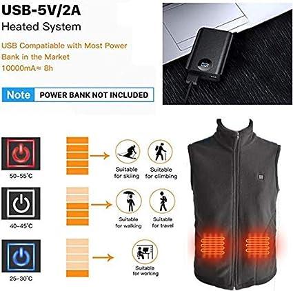 SRVR-Chaleco Calefactable Hombre Mujeres Chaleco Calefactor Lavable De 3 Niveles USB recargable negro Chaleco calefactor para actividades al aire libre en invierno