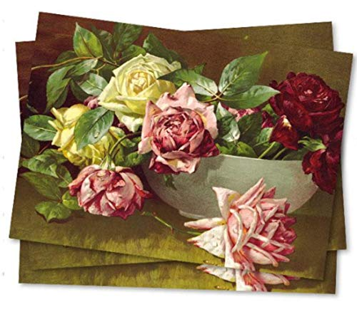 Victorian Trading Co Bowl of Roses Floral Blank All Occasion Invitations 10pk