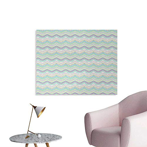 (Tudouhoho Pastel Custom Poster Hand Painted Style Tribal Design with Zigzag Triangle Motifs Ethnic Stripe Line Wall Picture Decoration Multicolor W36 xL24)