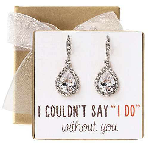 Wedding Bridesmaids Gift Drop Earrings or Jewelry set in Silver, Yellow Gold, Rose Gold