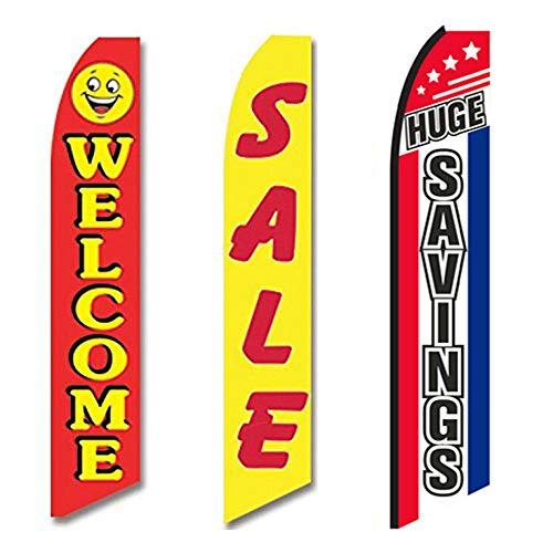 (Three Swooper Flag Combo Welcome Sale Huge Savings Red Yellow)