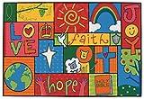 Inspiration Patchwork Children's Area Rug (3' x 4'6'' Rectangle) - Love, Faith, Joy, Hope