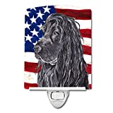 Caroline's Treasures Black Cocker Spaniel American Flag Night Light, 6'' x 4'', Multicolor