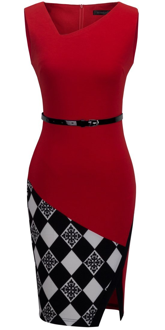 HOMEYEE Women's Elegant Patchwork Sheath Sleeveless Business Dress B290 (L, Red)