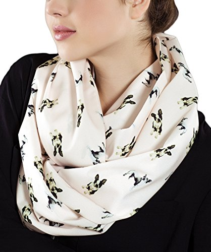 Etwoa's Boston Terrier Cream Infinity Scarf Circle Loop Scarf
