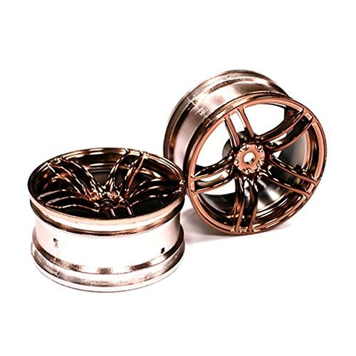 Integy RC Model Hop-ups C23535 10 Spoke Bronze Tone Wheel Set (2) for 1/10 Drift and Touring Car