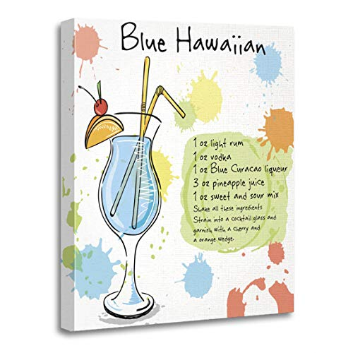 Emvency Canvas Wall Art Print White Alcohol Blue Hawaiian of Cocktail Including Recipes Artwork for Home Decor 16 x 20 Inches