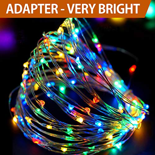 Bright Zeal 33 Very Bright LED Christmas String Lights Multi Color - Indoor Multi Colored Christmas Lights - LED String Lights Plug in Multicolor with Timer - LED Christmas Tree Lights Multi Color