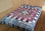 Quilt suggestions Blanket pillow set Bedspread Denim Handmade Boho Patchwork Gift two pillows