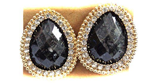 Clip on Earrings Teardrop Assorted Colors Crystal Lined Earrings 1.25 inch ()