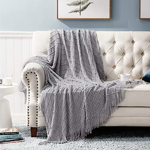 Bedsure Throw Blanket for Couch, Knit Woven Blanket, 50×60 Inch - Cozy Lightweight Decorative Blanket with Tassels for Couch, Bed, Sofa, Travel - All Seasons Suitable for Women, Men and Kids (Grey)