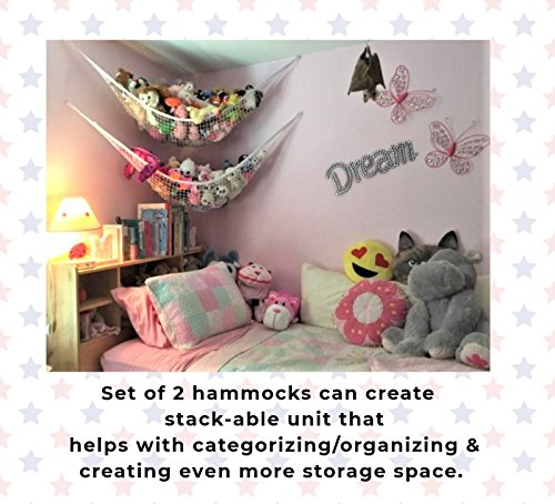 MiniOwls Toy Storage Hammock X-Large Organizer and De-cluttering Solution for Every Kid's Room, Nursery & Playroom (White, XL)