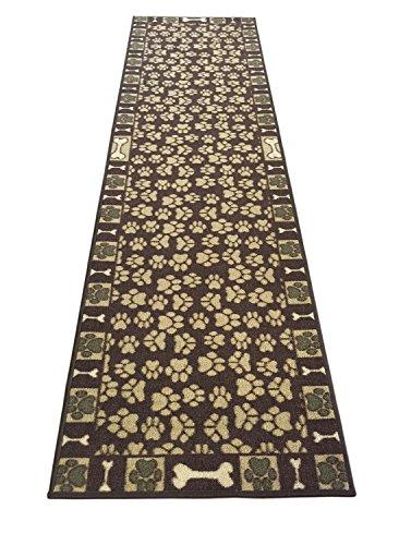 Pet Paw and Bone Design Brown Aqua Blue Printed Slip Resistant Rubber Back Latex Runner Rug (Brown, 20' x 59')