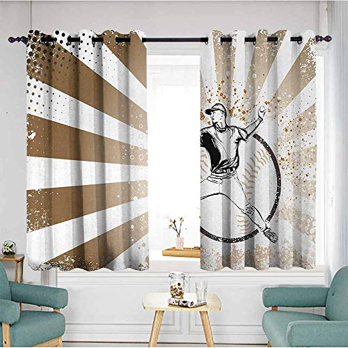 duommhome Baseball Polyester Curtain Retro Illustration of Baseball Player on Distressed Striped Pattern Pop Art Image Set of Two Panels 55