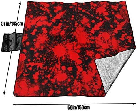 N/A - Grande coperta impermeabile da picnic all'aperto con motivo di sangue, ideale per Halloween, hipster e spiaggia