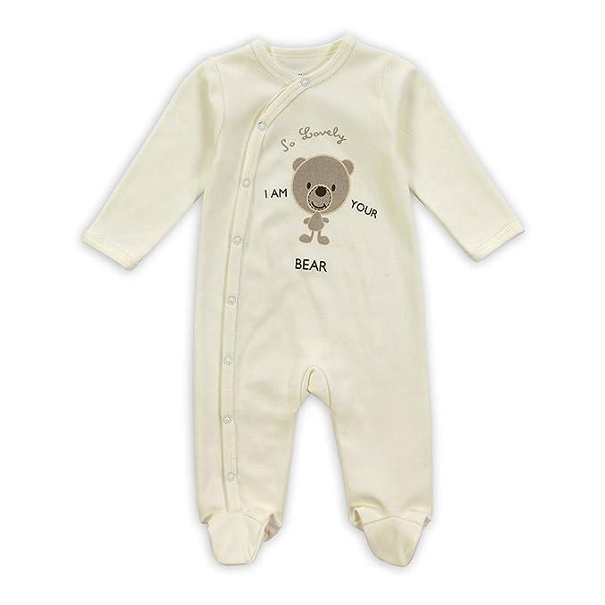 Ruiying Los Bebés Recién Nacidos Pijamas Sleeper Oso patrón Footies Coveralls Romper Ropa Durmiente Patas Pijamas