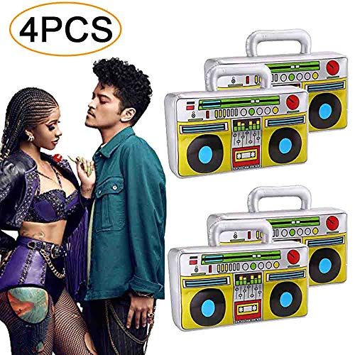 4 PCS Inflatable Boombox - 80s 90s Party Decorations Supplies Inflatable Boom - Rappers Hip Hop B-Boys Costume Accessories ()