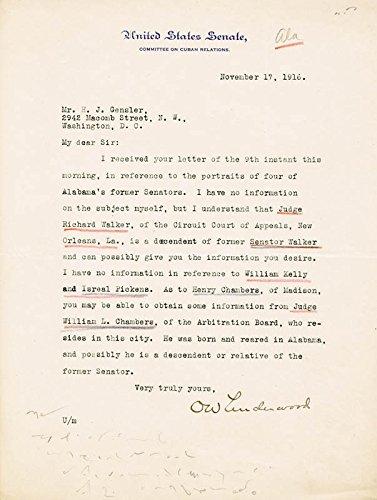 Oscar Underwood Typed Letter Signed 11/17/1916