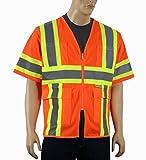 Safety Depot Class 3 ANSI ISEA Approved 6 Pocket Safety Vest Breathable High Visiblity M7138 (Mesh Orange, 4XL)