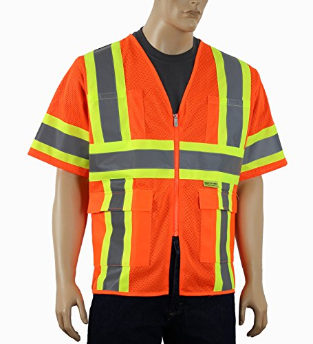 Safety Depot Class 3 ANSI ISEA Approved 6 Pocket Safety Vest Breathable High Visiblity M7138 (Mesh Orange, XL)