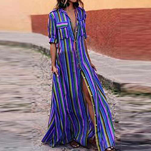 Femmes Manches Boho Robe Maxi Cover Imprim Ray Longues up Longue Bleu Chemise Casual laamei Caftan Bikini fndWF8qf