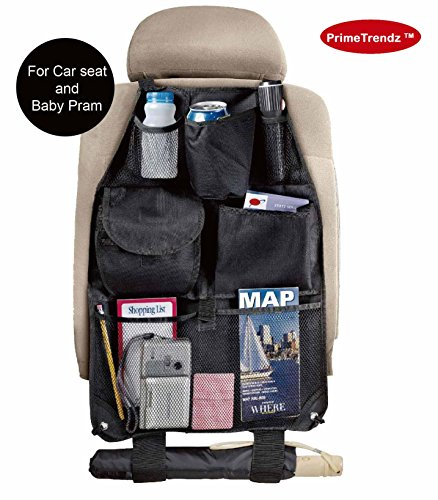 PrimeTrendz Car Seat Organizer for Auto Seat Back with 6 Pockets Organizes Clutter by USA Cash and Carry.
