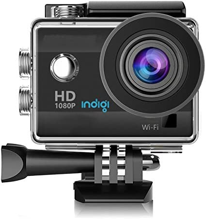 Indigi WiFi Enabled 4K Full HD Waterproof Sports Action Camera Camcorder 1.5 LCD Wide Angle Lens Mounts Included 4K 1080p 720p Recordings 12MP Camera