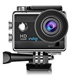 Indigi ActionCAM-BK08 HD Recording Accessories Included, WiFi Enabled, 4K Sports & Action Video Camera, 1.5', Black