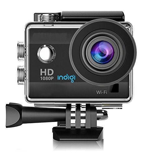 indigi 1080p Full HD WiFi Action Sports Camera Video Recording for Outdoor Sports and Activities, Extreme Sports, Bicycle, Skydiving, Surfing, Skateboard, Climbing, Car DVR, deep-Water Probing, etc