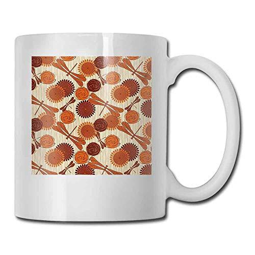 - Porcelain Tea Mug Dragonfly Modern Retro Vintage Design Flowers and Bird Like Bugs Art Print Double-Sided 11 oz Orange and Cinnamon White