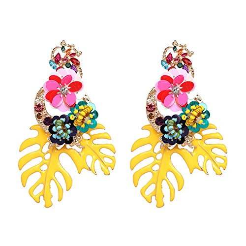 Lureme Gorgeous Colorful Sequin Flower Palm Leaf Stud Earrings for Women and Girls (er006023-1)